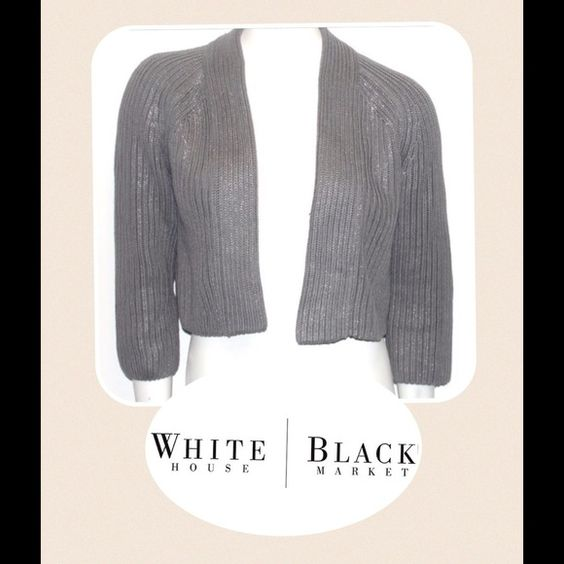 WHBM Silver Cardigan The cardigan is quite thick and durable. Silver splash shimmers all over the outer layer. It Machine washes well. White House Black Market Sweaters Cardigans