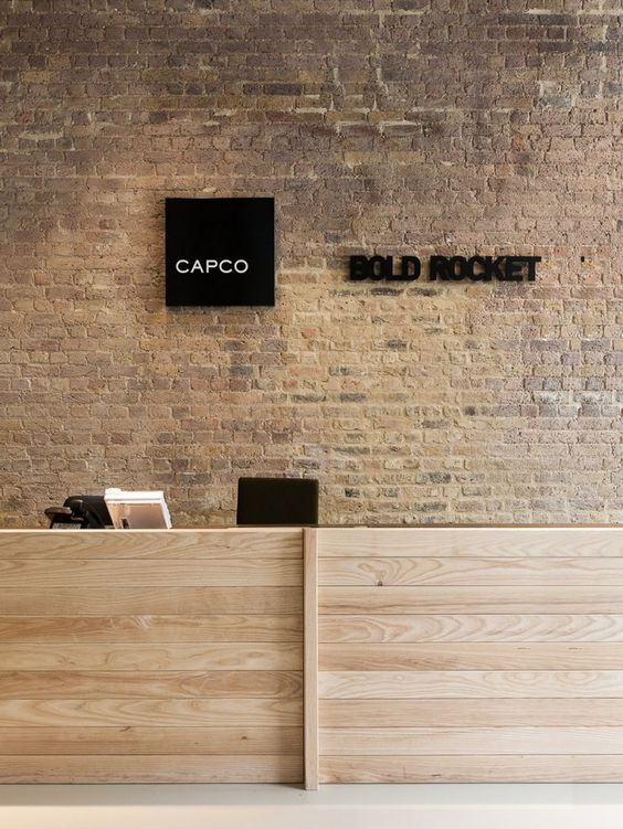 capco and bold rocket london offices reception desk design bridge reception counter office line
