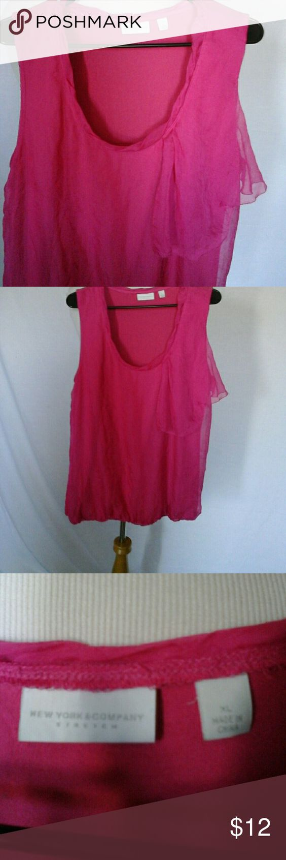 Gorgeous raspberry pink blouse stretch bottom Blouse has stretch also New York & Company Tops Blouses