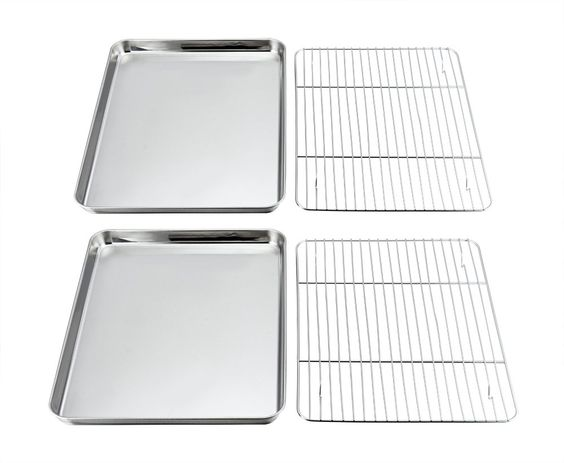 Pandp Chef Baking Sheets And Rack Set Pack Of 4 2 Sheets 2 Racks Stainless Steel Baking Pans Cookie Tray With Cooling Pan Cookies Baking Pans Cookie Tray