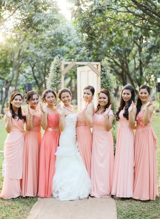 Ombre blush to peach bridesmaids dresses
