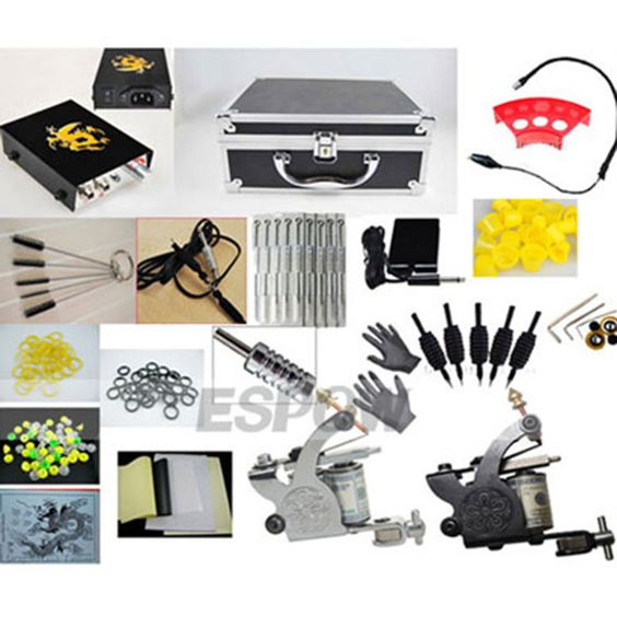 2 Guns Beginner Tattoo Kit with Smart Pointer Power a 40 Color Ink