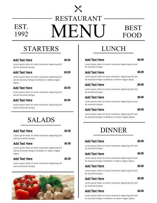 Menu Template Flyer Breakfast Menu Design Menu Design Cafe Menu