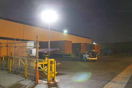 Solar Light Towers are used at TopOcean Logistics warehouses in City of Industry, CA Providing Security Guards 24/7 Lighting & Cameras Recording System, for a 450,000 sf warehouse. www.SolarLightingTower.com