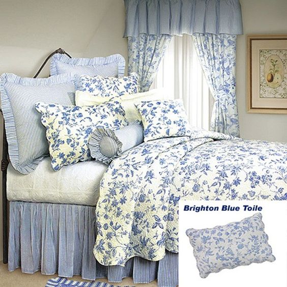 French country shabby chic brighton blue toile quilt for Toile shabby chic