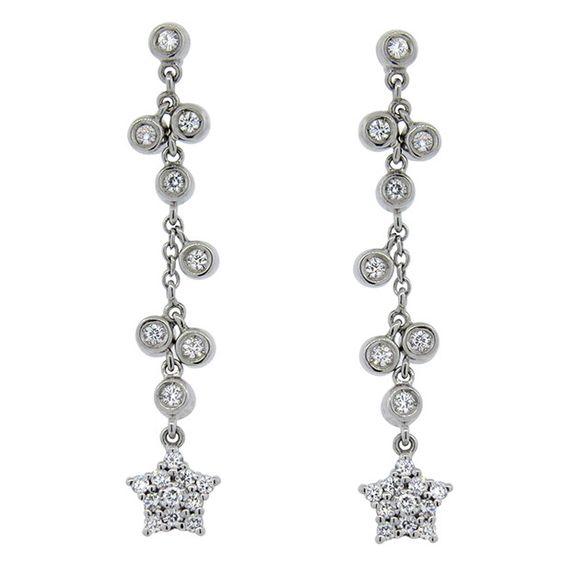 Italian 18K Gold Diamond Star Dangle Earrings