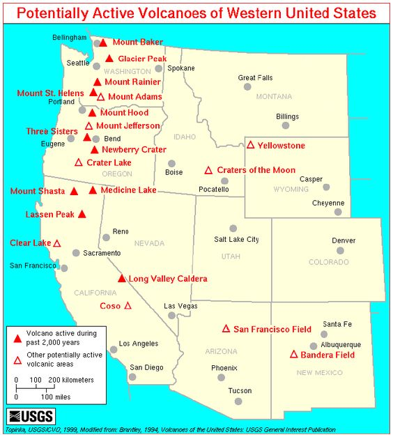 Potentially Active Volcanoes Of The Western United States - Mt rainier on us map