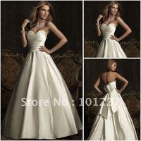 NG387 Free Shipping Custom Made Sweetheart neckline A-line Satin Wedding Dress 2012