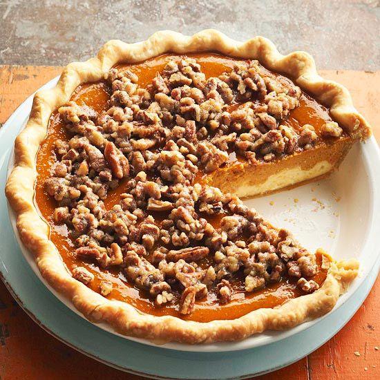 This Paradise Pumpkin Pie is bursting with fall flavor! More pumpkin recipes: http://www.bhg.com/thanksgiving/recipes/pumpkin-recipes/?socsrc=bhgpin083013pumpkinpie=3
