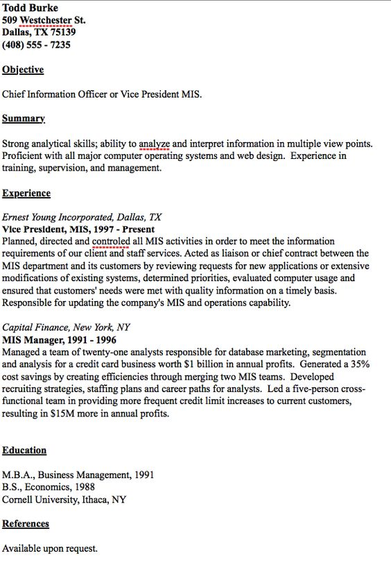 Example Of MIS Analyst Resume - http\/\/resumesdesign\/example - cornell resume builder