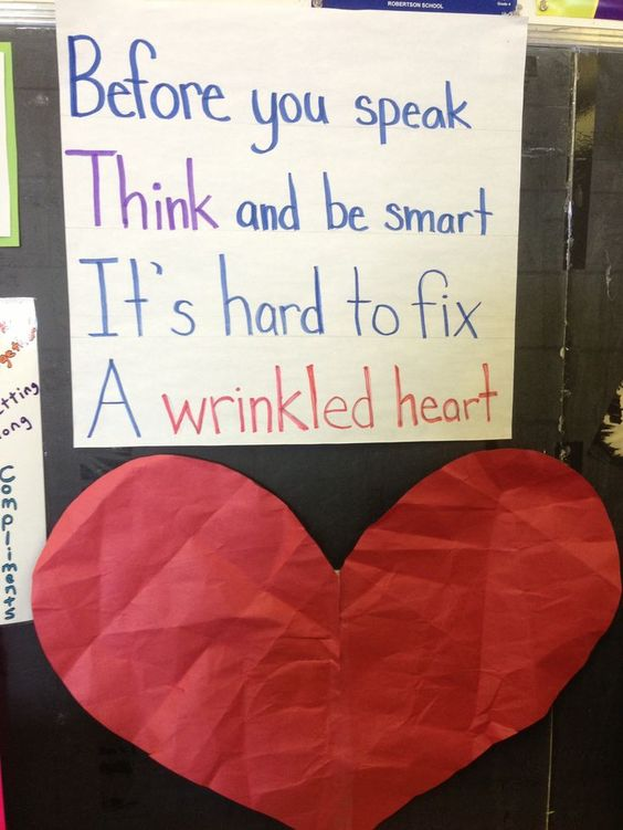 Broken link but I want to remember the activity. Have students wrinkle up the paper heart and then try to flatten it out. Talk about how words or actions can harm a heart and take time to heal.... Good first week of school activity!