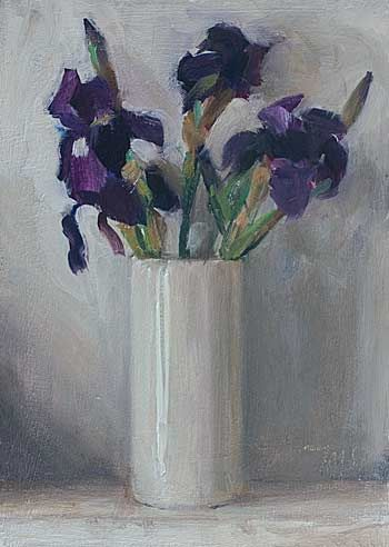 daily painting titled Irises in a white vase  Julian Merrow-Smith,