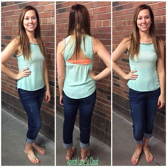 Mint To Be ‪#‎MTB4023‬ This mint tank top is sooo cute! Layer an unexpected pop of color underneath this mint tank top that can be seen when you turn around. Mint Tank Top: $36 Coral Bandeau: $10 Denim: $68 Sandals: $45 To add this cute, cute, cute outfit to your closet, fill out this form athttp://form.jotform.us/form/42265697798173. For immediate assistance call us at 320-774-1533! We ship nationwide! Don't forget to follow us on Facebook at www.facebook.com/ApricotLaneStCloud and on…