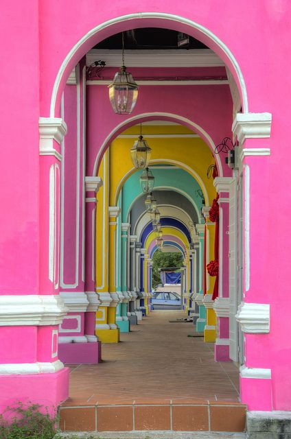 Colorful passage in George Town, Penang, Malaysia. Like, can I go there? #malaysia #pink #colors