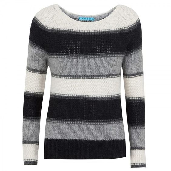 Alice+Olivia Striped alpaca-blend jumper (530 BAM) ❤ liked on Polyvore featuring tops, sweaters, women, loose fitting tops, loose sweater, stripe top, long sleeve tops and cut loose tops