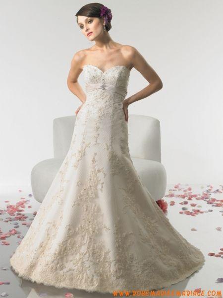 Robe sirène en satin et dentelle décorée de ruban robe de mariée dentelle