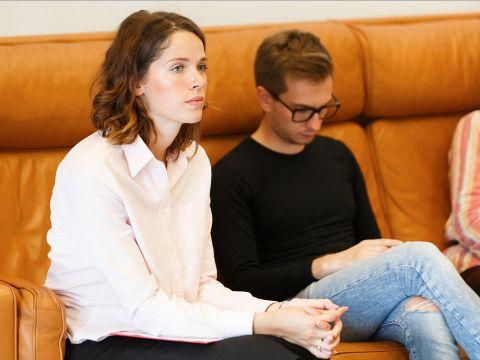 woman meeting boss interview