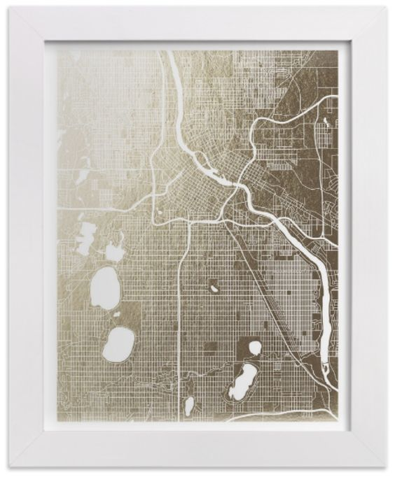 Minted City Foil Map - get a custom printed foil map of your city (that's MPLS up there, in case you can't tell). Perfect housewarming gift for the holidays (from @minted)