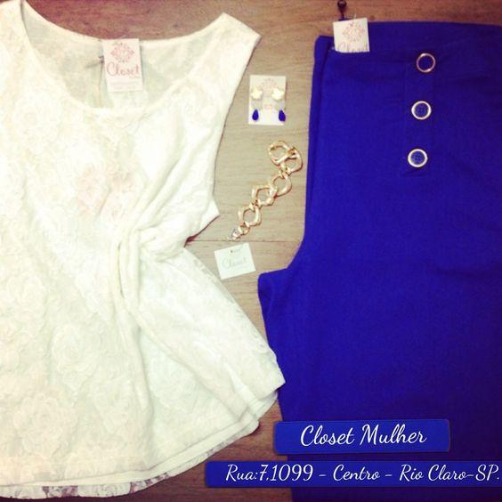 Look Closet Mulher  Top de renda, pantalona de linho e acessórios  www. Facebook/closetmulher.com