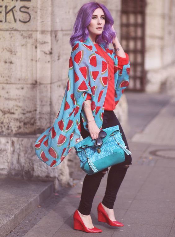 Tuch als Cardigan, rot und türkis, Mode Blog, Like A Riot, Fall Style, Fall Fashion, Autumn Outfit, Herbstlook, purple hair, Watermelon