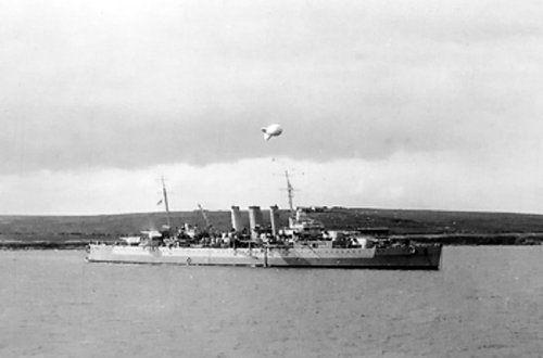 British cruiser Dorsetshire at Scapa Flow, Scotland, United Kingdom, 8 Aug 1941