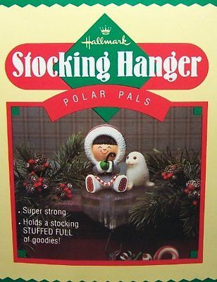 Hallmark Polar Pals 1985 Frosty Friends Eskimo Seal Fishing Stocking Hanger