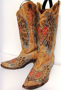 Womens Corral Peace Heart Angel Wings Western Vintage Cowboy Boots ...