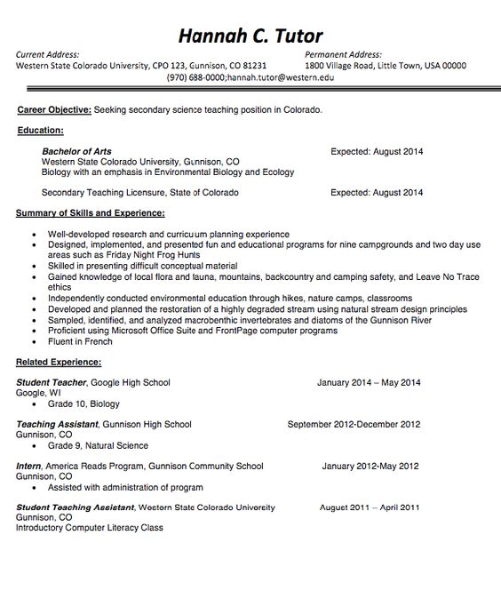 Resume Teaching Objective Teacher Resume Template Sample  Httpresumesdesignteacher .