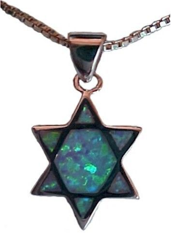 Sterling Silver Star of David Centered with Green to Blue Opals Necklace