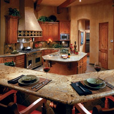 Perfect for entertaining golden wave granite countertop for Entertaining kitchen designs