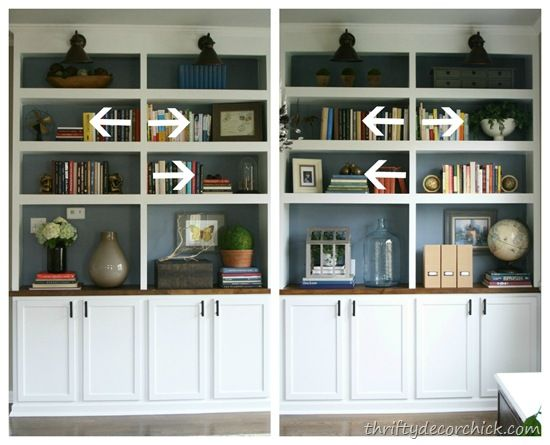 how to decorate bookshelves - maybe this will help end my obsession with my  book shelves in the living room! Good tips | House | Pinterest | Decorate  ...