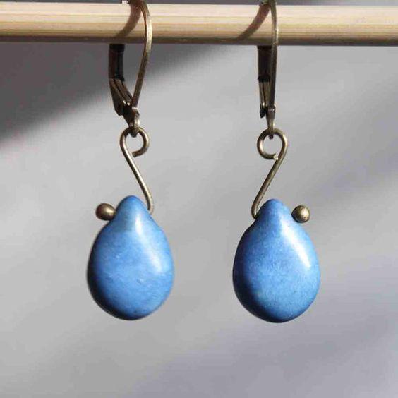 Blue Earrings Brass earrings Dangle earrings by NtikArtJewelry