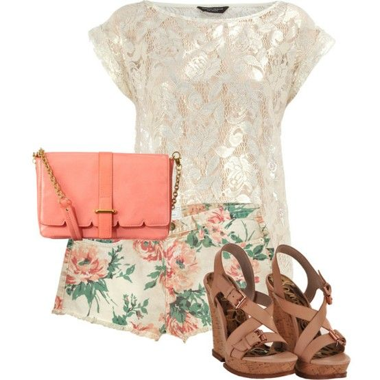 white floral lacette top, low rise floral print shorts, coral clutch bag, brown buckle wedges. perfff <3