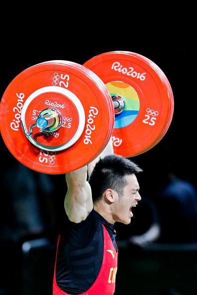 #RIO2016 Shi Zhiyong of China competes during the Men's 69kg Weightlifting Final on Day 4 of the Rio 2016 Olympic Games at the Riocentro Pavilion 2 on August...