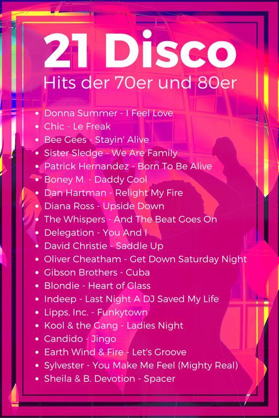 21 Disco Hits der 70er und 80er #DiscoSongs #70er #80er #Disco #Hits