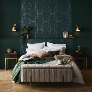カッパー コッパー 銅 インテリア 寝室 ブルー グリーン コーディネート例