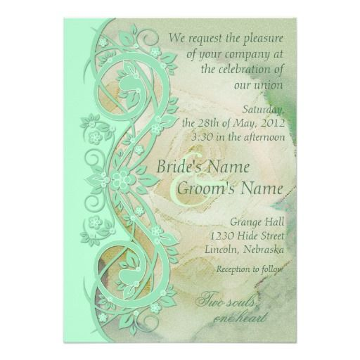 Elegant Scroll Wedding Invitation - Mint Green
