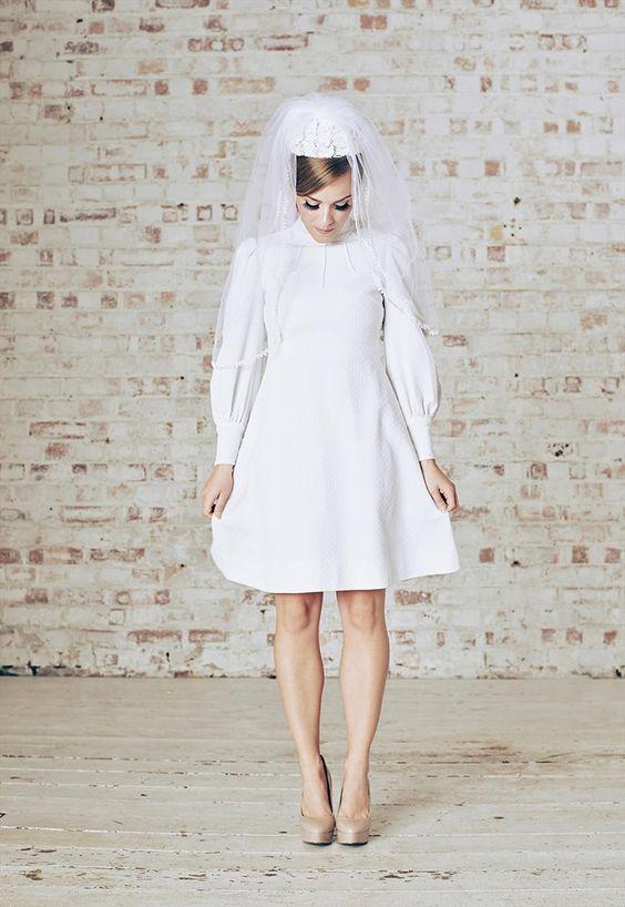 1960s Vintage Mod white mini wedding dress & veil UK6/8   belleinwonderland   ASOS Marketplace
