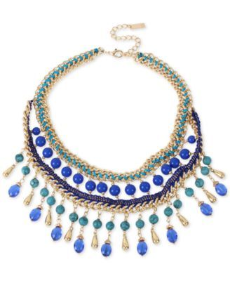 M. Haskell for INC Gold-Tone Blue Beaded Woven Statement Necklace, Only at Macy's