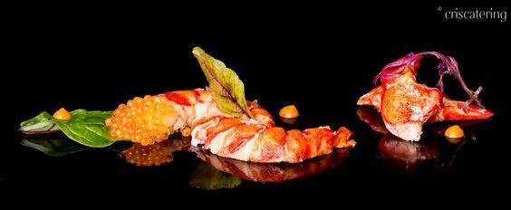 Amanida de llamantol amb caviar i romesco