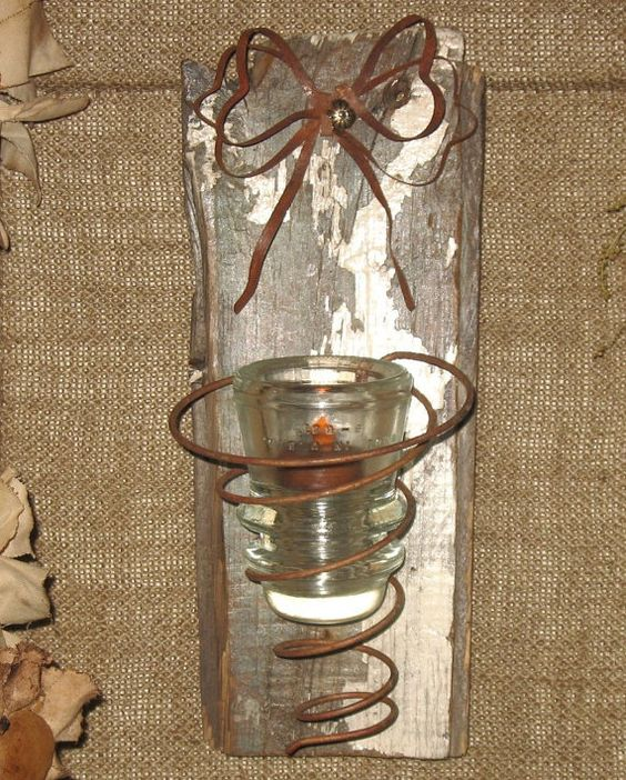 Primitive Reclaimed Bed Spring Rustic Wood Candle Sconce