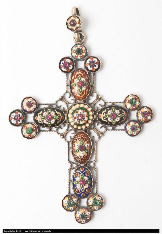 Cross from region of Bresse, silver and enamel
