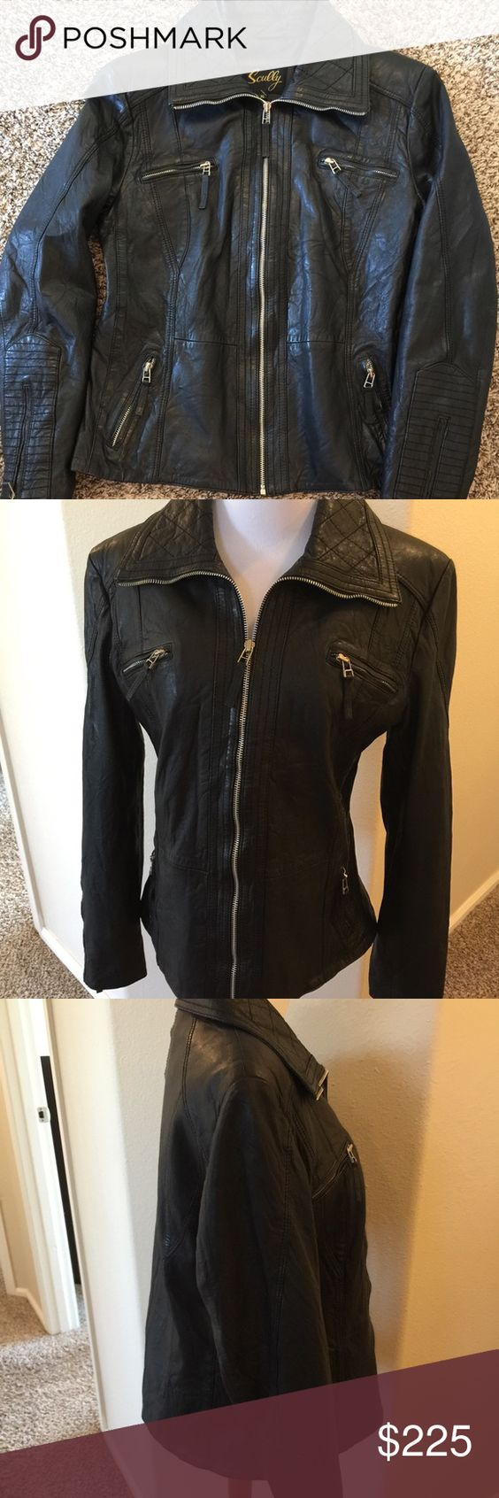 Leather jacket xl size - Scully Black Leather Moto Jacket Xl Awesome Black Leather Jacket Excellent Condition Size Xl But Runs