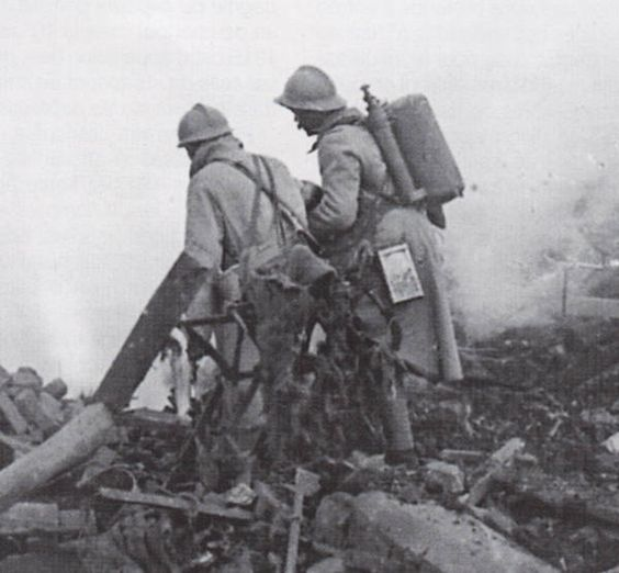 WW1, French soldiers with flamethrowers.