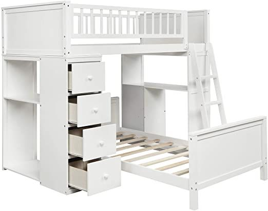 Lumisol Twin Loft Bunk Bed With Drawers Storage Shelves Solid Wood Twin Over Twin Bunk Bed Frame With Lad Bunk Beds With Drawers Twin Bunk Beds Loft Bunk Beds Twin bunk beds with drawers