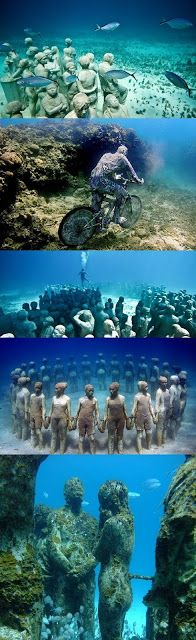 One day I would love to see this, if I ever learn to scuba dive... Cancun Underwater Museum - Mexico