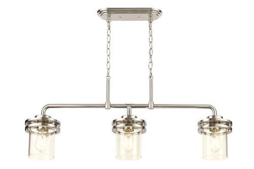 Patriot Lighting Joska Brushed Nickel 3 Light Island Light Glass Shower Island Lighting Lighting Ceiling Fans