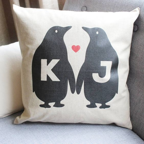 A personalised penguin love cushion.We offer the option for you to purchase a matching card to complement your cushion. We are able to provide customised cushions within very short lead times as corporate gifts, please contact the seller via the 'ask seller a question' button for more information.A cute penguin cushion which can be personalised with two initials. Not only do Tillyanna cushions make great presents, they are the perfect home accessory. From country cottages to contemporary ...