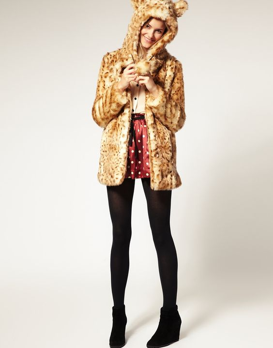 CUTE!!! ASOS Faux Fur Leopard Hooded Coat With Ears