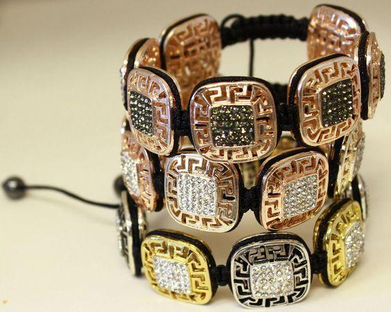 Greek Key Macrame Bracelets w/ Crystal Stones #Handmade